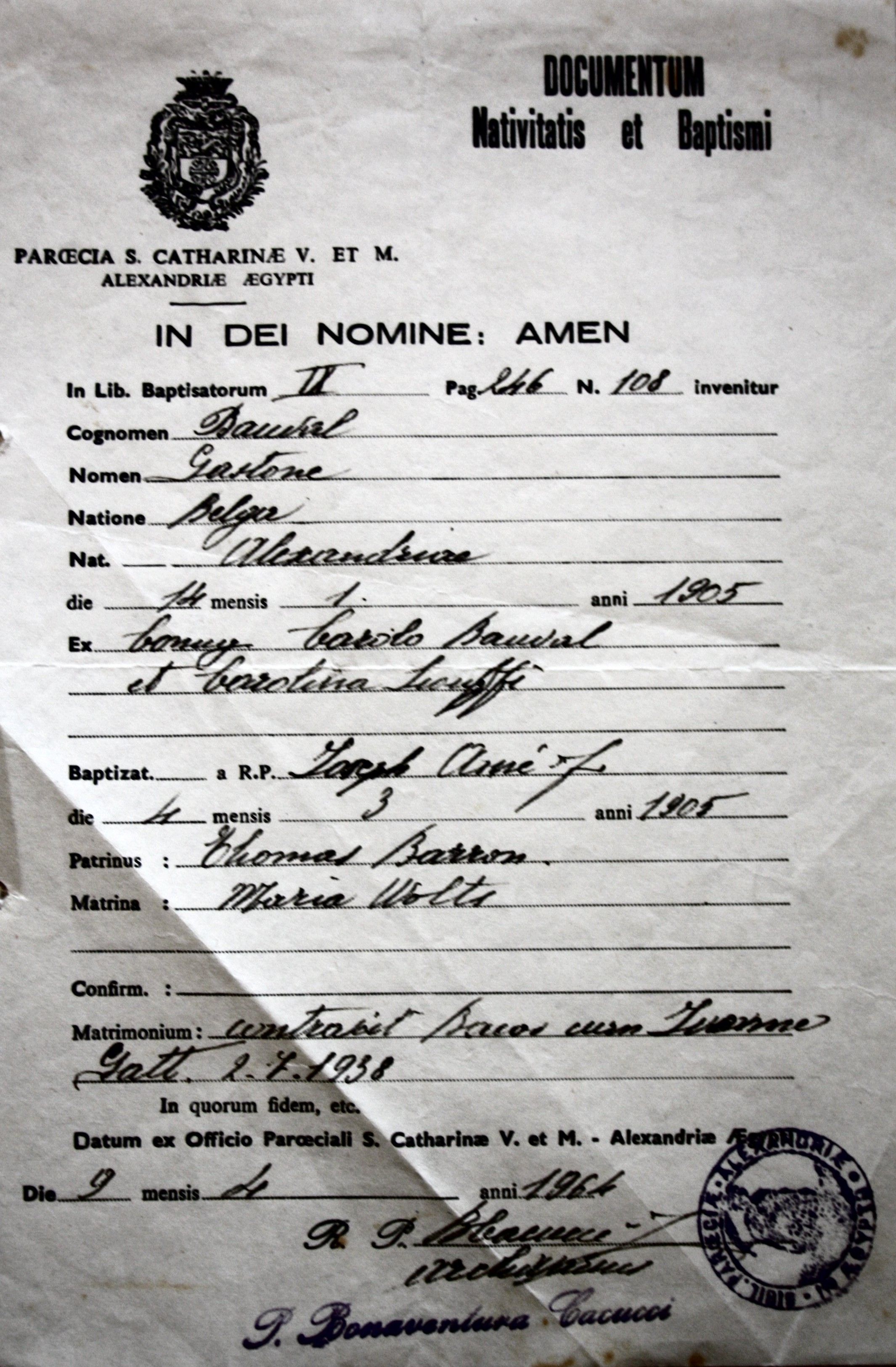 Christian Baptism Certificate of my father, Gaston Bauval, born in Alexandria in 1905
