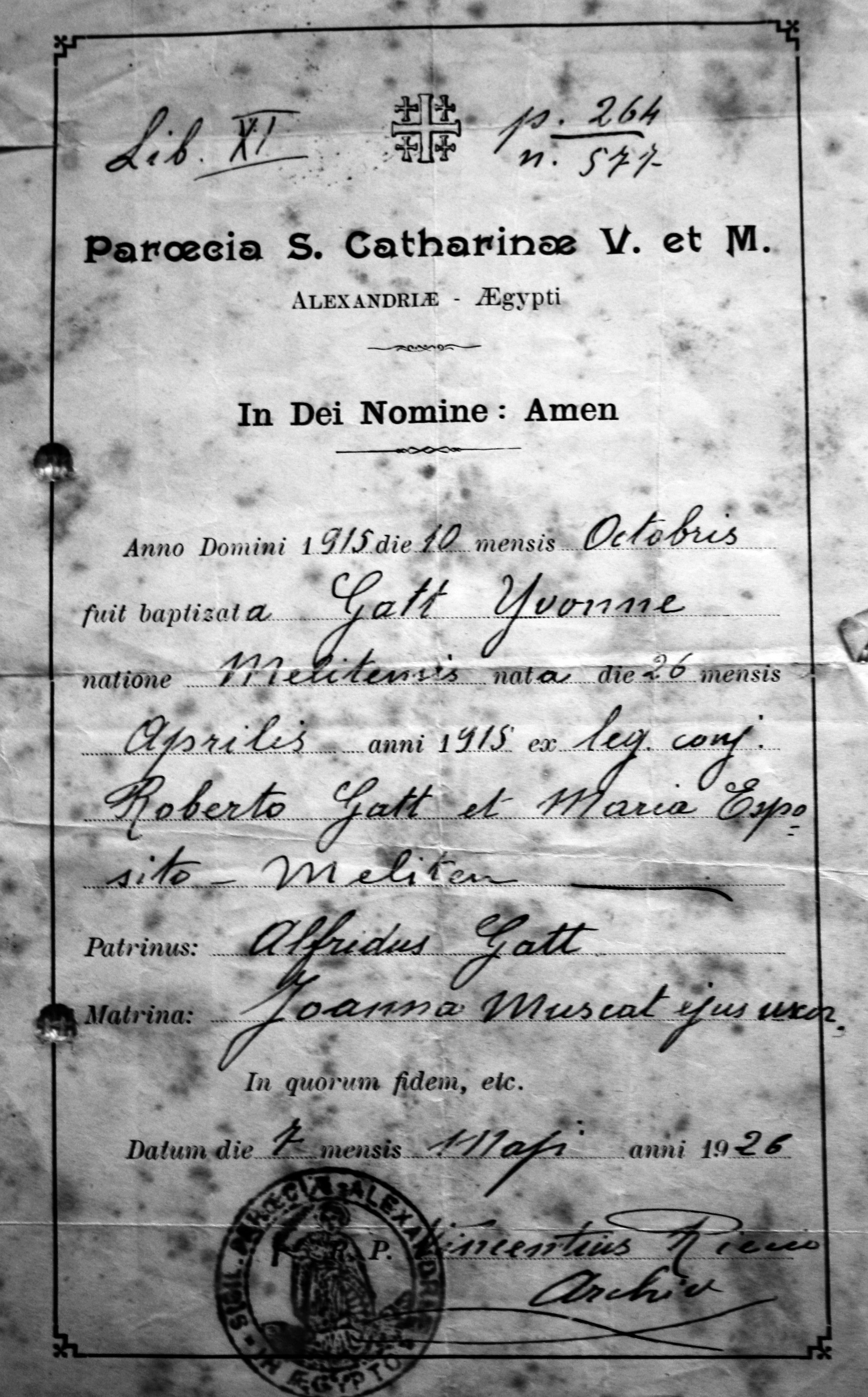Christian Baptism Certificate of my mother, Yvonne Gatt, born in Alexandria 1915